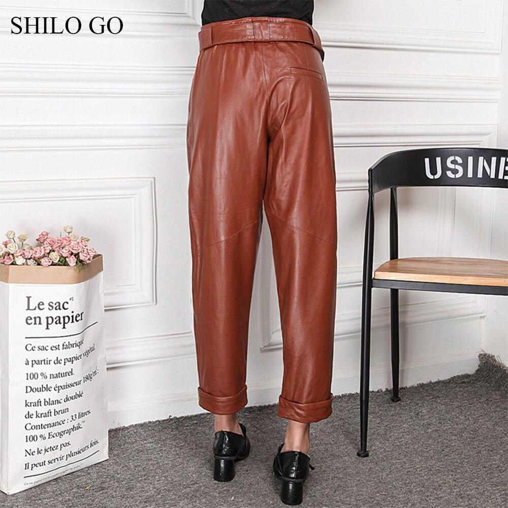 1 Aller Causal Métal Cuir Pantalon Mode Concise Véritable De Printemps Peau Femmes Haute En Sarouel Taille Shilo 2 Mouton TdqCq