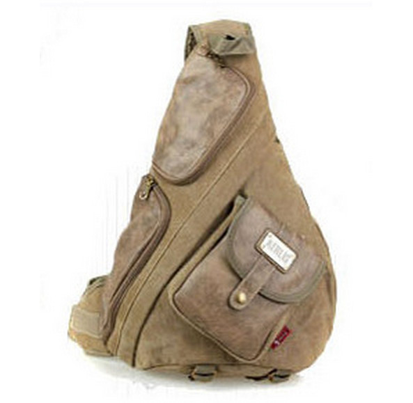 Outdoor Vintage Retro canvas PU leather single strap chest backpack male travel sling men go bag