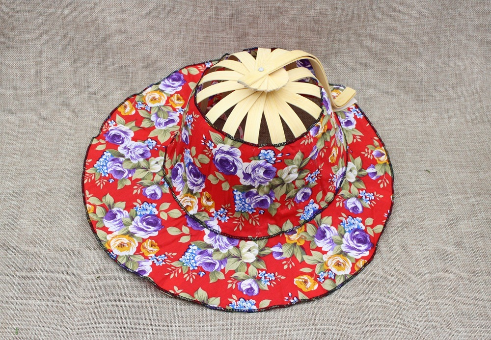 d41f4b66 Folding Fan New Arrive Hand Held Folding Fans Traveling cap Summer Women  Girl Sun Hat Bamboo Dancing Fan Floral Cloth cap-in Sun Hats from Apparel  ...