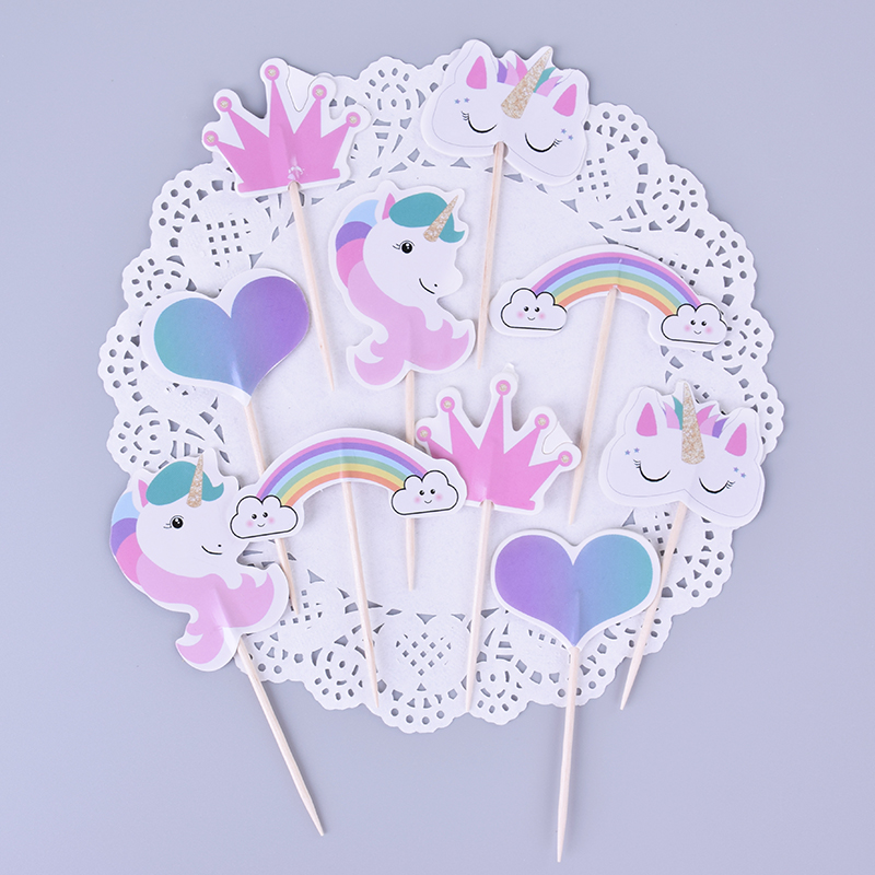 24 Pcs/lot Cartoon Rainbow Unicorn Cake Topper Birthday Cup Cake Decoration Baby Shower Kids Birthday Party Favor Supplies