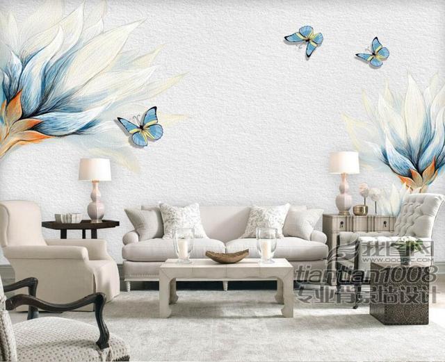 Kundenspezifische Retro Blau Handgemalten Blumen Schmetterling