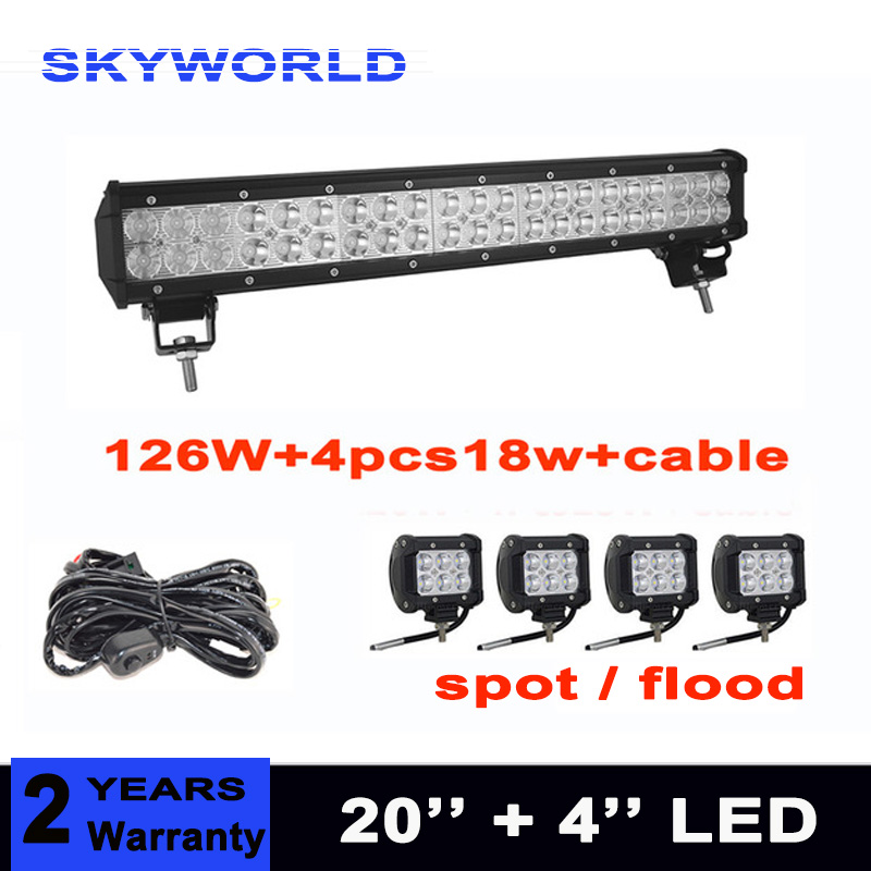 20inch 126w car led light bar 4pcs spot flood 18w led work light for offroad 4x4 4WD tractor truck 12v 24v with wiring kit