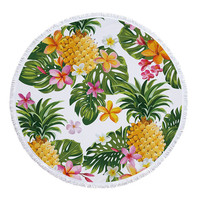Summer Round Beach Towel With Tassel Mandala Roundie Tapestry Outdoor Picnic Blanket Bohemian Pineapple Wink Gal Hippie Yoga Mat