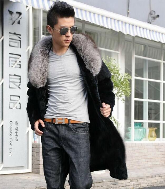 Autumn faux mink leather jacket mens clothes winter thicken warm fur leather coat men slim jackets big fur collar fashion black