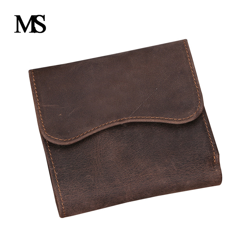 MS Crazy horse wallet vintage Mens leather Wallet man wallet leather with coin pocket genuine leather wallet for men TW1603
