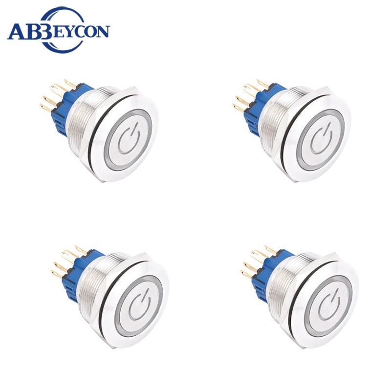 ABBEYCON Metal flat latching 3V/5V/12V/24V/36V ring led power logo illuminated 30MM push button switch