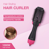 2 In 1 Electric Pro Hair Dryer Brush Curling Iron Hair Curler Ions Ceramic Rotating Hairdryer Comb Blow Dryer Hair Styling Tool