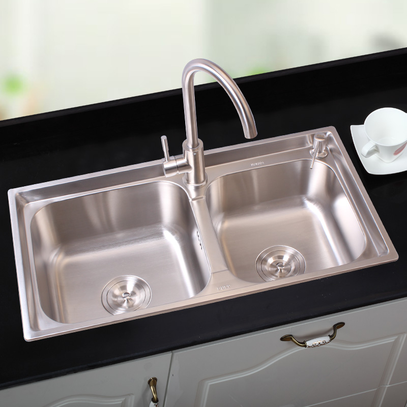 Double Groove Meal Kitchen Sink 304 Stainless Steel Sink Drawing Water Thickening  Basins Kitchen Sink Double Bowl With Faucet