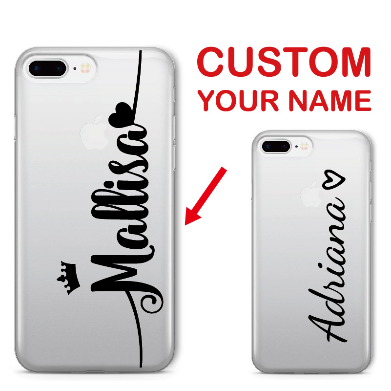 For iPhone 6 6S XS Max 7 7Plus 8 8Plus 5 X 11 Pro Max XR Personalized Custom Name Love Crown Unicorn Soft Clear Phone Case(China)