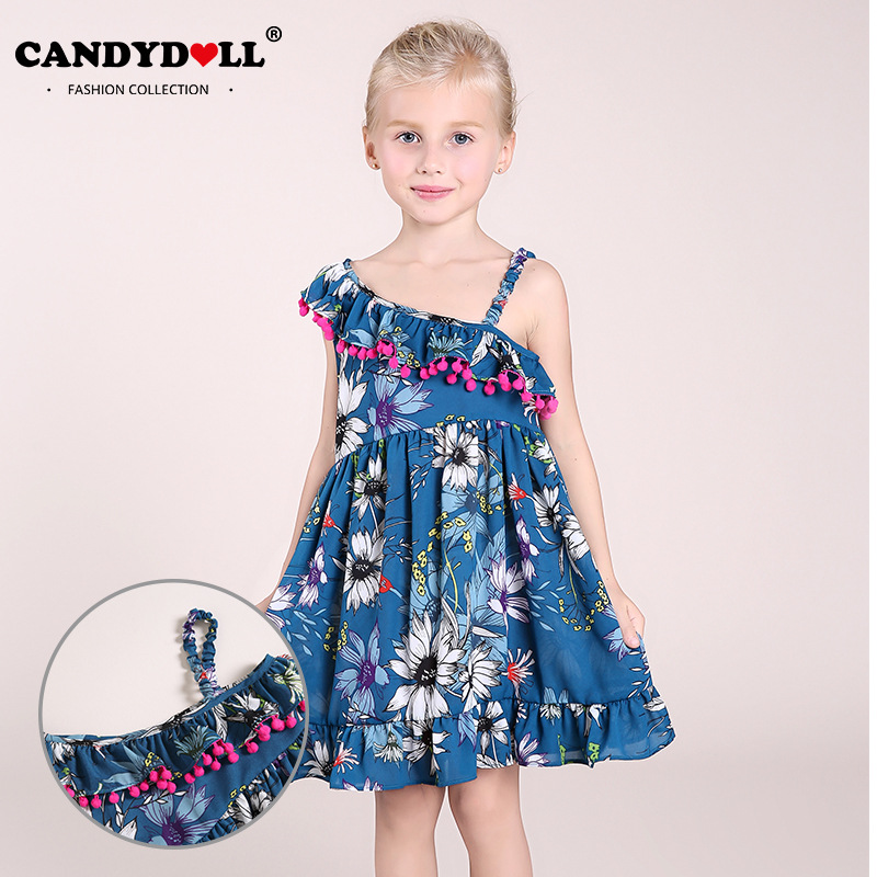 2017 summer new girls shoulder print dress Europe and the United States popular children's dress канцтовары ru yi yu 2639