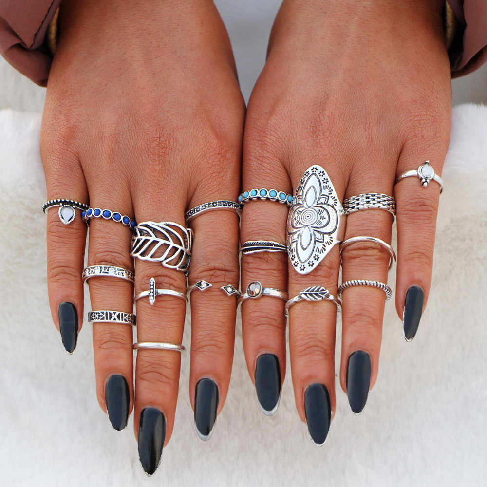 6aad71301d818 IF YOU 11pcs/Set Bohemian Black Stone Lotus Style Rings Set Vintage  Geometric Antique Knuckle Rings For Women Jewelry Gift