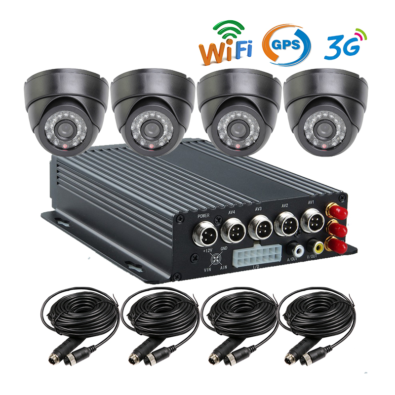 Free Shipping New 4 Channel 128GB SD 3G GPS WiFi Mobile Car DVR Recorder Kit + Car Dome Camera Support Phone PC Real Time View