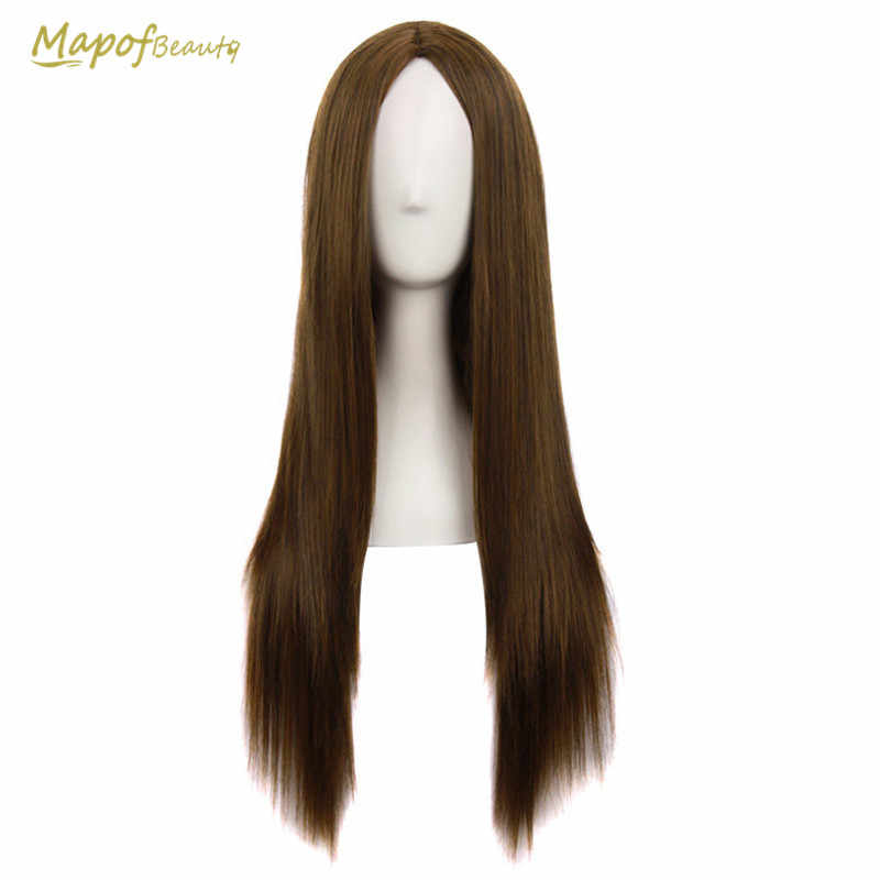 MapofBeauty 70cm Long Straight Natural Synthetic Wigs For Women Heat Resistant Brown Gold Middle Part Hair Cosplay Wig Peruca