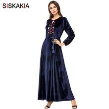 Siskakia Velvet Long Dress Chic Floral Embroidery Women Dres