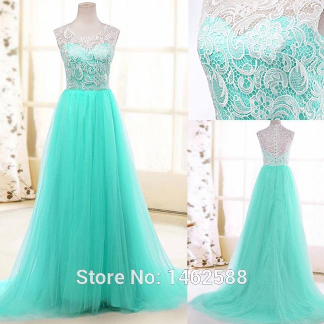 Real Photo High Quality White Lace Cap Sleeves Long Tulle Turquoise Prom Dress For Party And