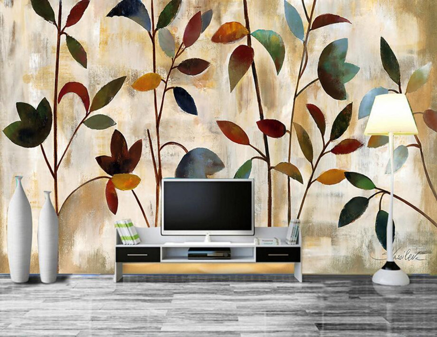 Custom papel de parede,Painting abstract color leaves wallpapers,living room tv sofa wall bedroom 3d wall murals wallpaper custom 3d wall murals wallpaper luxury silk diamond home decoration wall art mural painting living room bedroom papel de parede