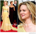 Freeshipping Custom-made The Most Gorgeous Golden Globe Gowns One Shoulder Chiffon Celebrity Dress