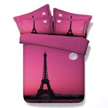 Romantic Pink Paris 3d Building Bedding sets 4/3PC Duvet Cover sets single queen king sizes Bedspread 500tc Coverlet kids girls