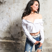 2017 Summer Essential Very Sexy Off Shoulder Shirt Women Pure White Type Short Blouse One Size Fits All No Elastic
