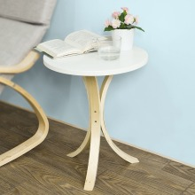 SoBuy FBT29-W, Modern Round Wooden Side Table, Tea Coffee Telephone Table Living Room Furniture