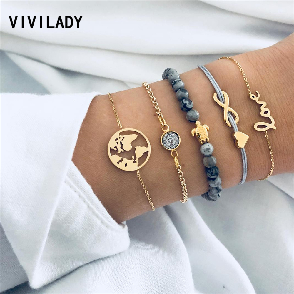 VIVILADY Bohemian Handmade Wrapped Rope Bracelets Women Turtle Heart Maple Metal Chain Natural Stone Beads Christmas Gift