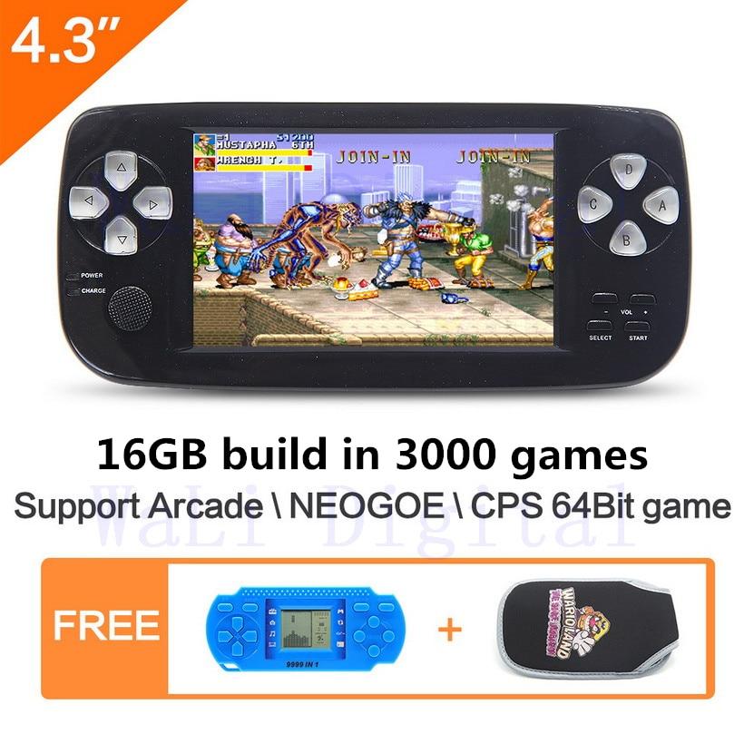 Дюймов 16 ГБ 4,3 дюймов портативная игровая консоль сборка в 3000 без повтора игры для NEOGEO \ CPS \ GBA \ GBC \ GB \ SFC \ FC \ MD \ GG \ SMS MP3/4 PDF