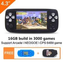 16 ГБ 4,3 дюймов портативной игровой консоли построить в 3000 не повторять игры для NEOGEO  CPS  GBA  GBC  GB  SFC  FC  MD  GG  SMS MP3/4 PDF