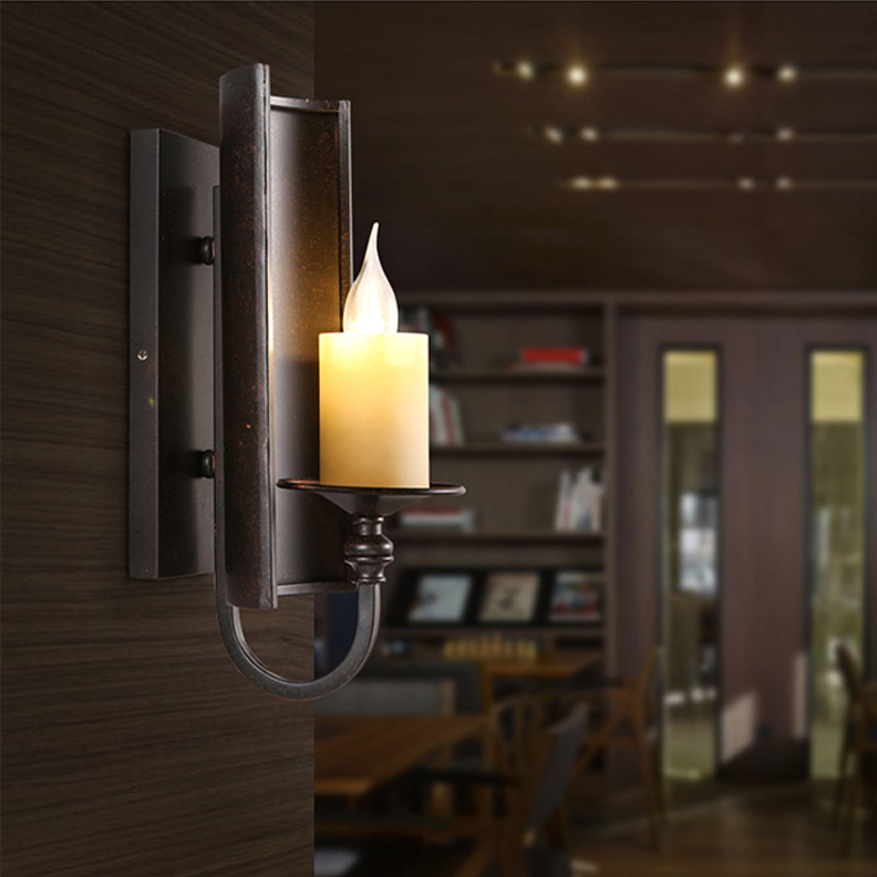 led e14 Loft Iron Glass Candle LED Lamp LED Light Wall lamp Wall Light Wall Sconce For Bar Store Foyer Bedroom Corridor Lobby led e14 american iron fabric led lamp led light wall lamp wall light for bar store foyer bedroom corridor lobby