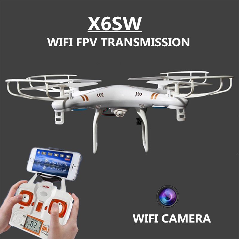 RC Drone Quadcopter X6SW With HD Camera 6-Axis Wifi Real-Time Helicopter Quad copter Toys Flying Dron VS Syma X5SW X705 rc drone quadcopter x6sw with hd camera 6 axis wifi real time helicopter quad copter toys flying dron vs syma x5sw x705