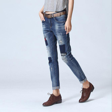 Medium Waist Jeans Women Ripped Jeans Pants Denim Trousers Fashion Casual Print Pencil Trousers For Women Boyfriend Pants TC010