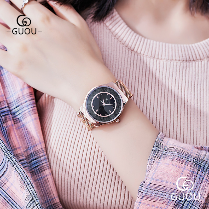 GUOU Big Face 40mm Women Watch Ultra-thin 8mm Waterproof Ladies Quartz Wristwatches Mesh Steel Strap Watches Female Clock 6010G aqua nl ultra pikeperch 5000m 0 40mm 13 9g