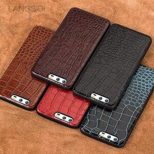 Image 3 - Caixa do telefone Para Huawei P10 wangcangli Mais couro de Bezerro Verdadeiro Back Cover Case/Estojo De Couro textura de crocodilo