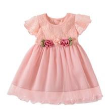 купить Summer Girls Dress Cute Princess Dress Cotton Lace Tutu Casual Dresses for Baby Girl Clothes Party Dress for Kid Girl по цене 333.47 рублей