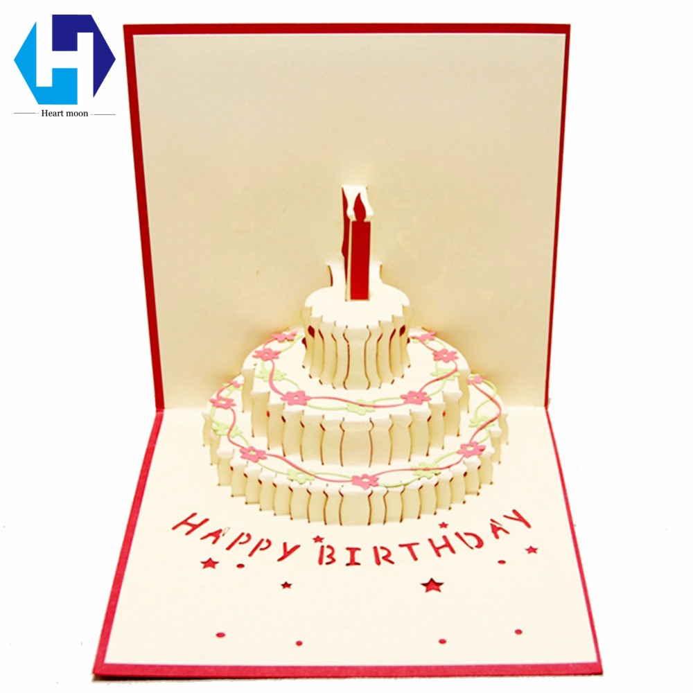3D Pop Up Birthday Cake Candle Greeting Card Envelope Invitation Laser Cut Hollow Carved Postcard Handmade Kirigami Gifts
