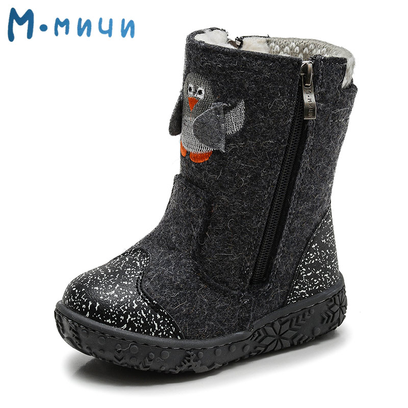цена на MMNUN Wool Children Winter Shoes with Embroidery Penguin Felt Boots Winter Shoes Boys Snow Boots for Toddler Kids Children Shoes