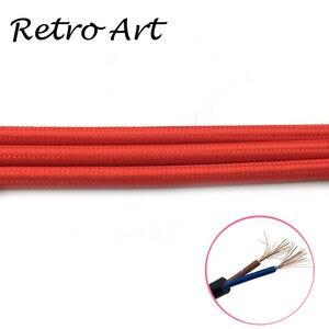 Image 3 - 10 meter vintage Textil Elektrische Draht Kabel Baumwolle retro edison stil Stoff Lampe Schnur