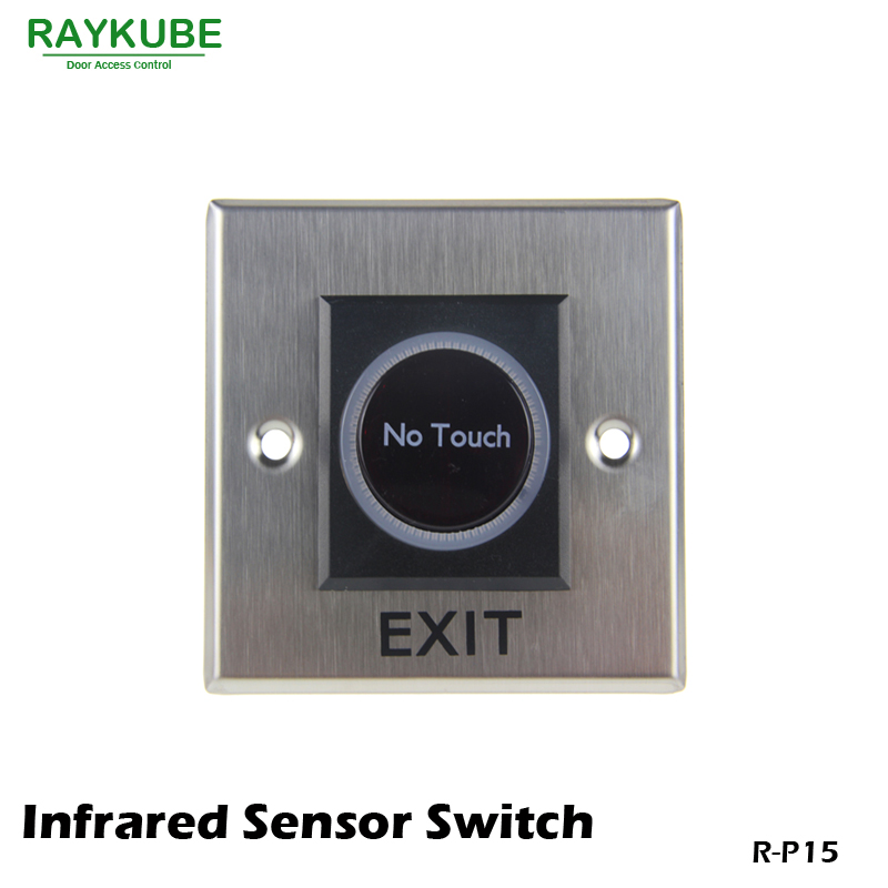 RAYKUBE Exit Button Infrared Sensor No Touch Push Switch For Door Access Control System Door Square IR Exit Button 86x86 R-P15 exit wound