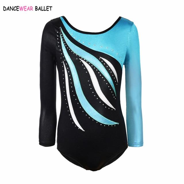 Rhythmic Gymnastic Leotard Girls Shiny Metallic With Rhinestone Kids Toddler Dance Ballet Leotard Dress Long Sleeve Gym Leotard