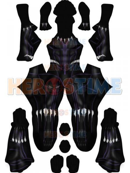 Black Panther 2018 Kinetic Bodysuit Costume No Mask Spandex Printed Black Panther Cosplay Superhero Costume