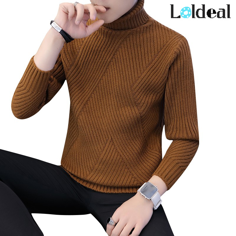 Loldeal Winter Thick Warm Sweater Men Turtleneck Irregular Stripe Sweaters Slim Fit Pullover Sueter Hombre Knitwear Pull White(China)
