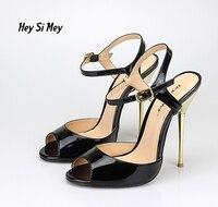 14cm Sexy Big Yards Metal Heel Peep Toe Female High Heel Sandals 8 5 15 5