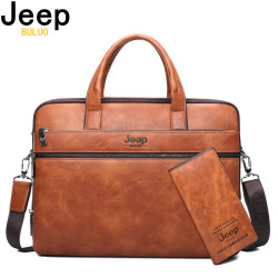 JEEP BULUO Men's Briefcase Bags For 14 Laptop Man Business Bag 2Pcs Set Handbags High Quality Leather Office Shoulder Bags Tote
