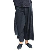 Changpleat 2018 Spring women original designer skirts Miyak Pleated Elastic waist Black Loose Solid Female Skirt Fashion Tide S8