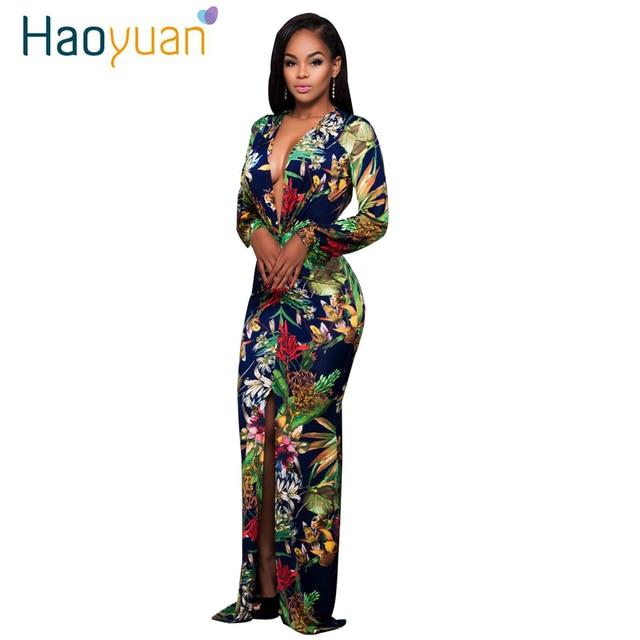 HAOYUAN Sexy Maxi Dress 2017 Women Split Long Sleeve Print Autumn Deep-V Party Dresses Vintage Bodycon Dress Vestido De Festa