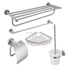 Stainless Steel 5-Piece Bathroom Accessory Kit Brushed