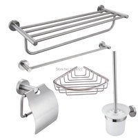 Stainless Steel 5 Piece Bathroom Accessories Kit Brushed Hardware Set Towel Rack Towel Bar Wall Shelf Toilet Paper Toilet Brush