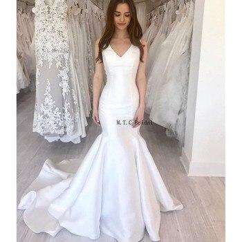 Wonderful White Mermaid Wedding Dresses V Neck Sleeveless Sweep Train Graceful Bridal Dress Cheap 2019 Vestido De Noiva