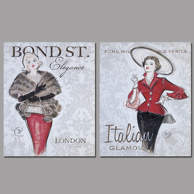 2pcs Modern red Fashion sexy lady decoration London Italian wall art picture Canvas Painting print for living room home unframed