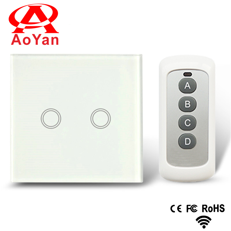 Aoyan EU/UK Standard , 2 Gang 1Way ,Crystal Glass Panel,Smart Touch & Remote Switch,AC 110-250V Compatible Broadlink RM2 RM Pro funry us au standard remote switch crystal glass panel wall light touch switch 2 gang 1 way compatible broadlink rm2 rm pro