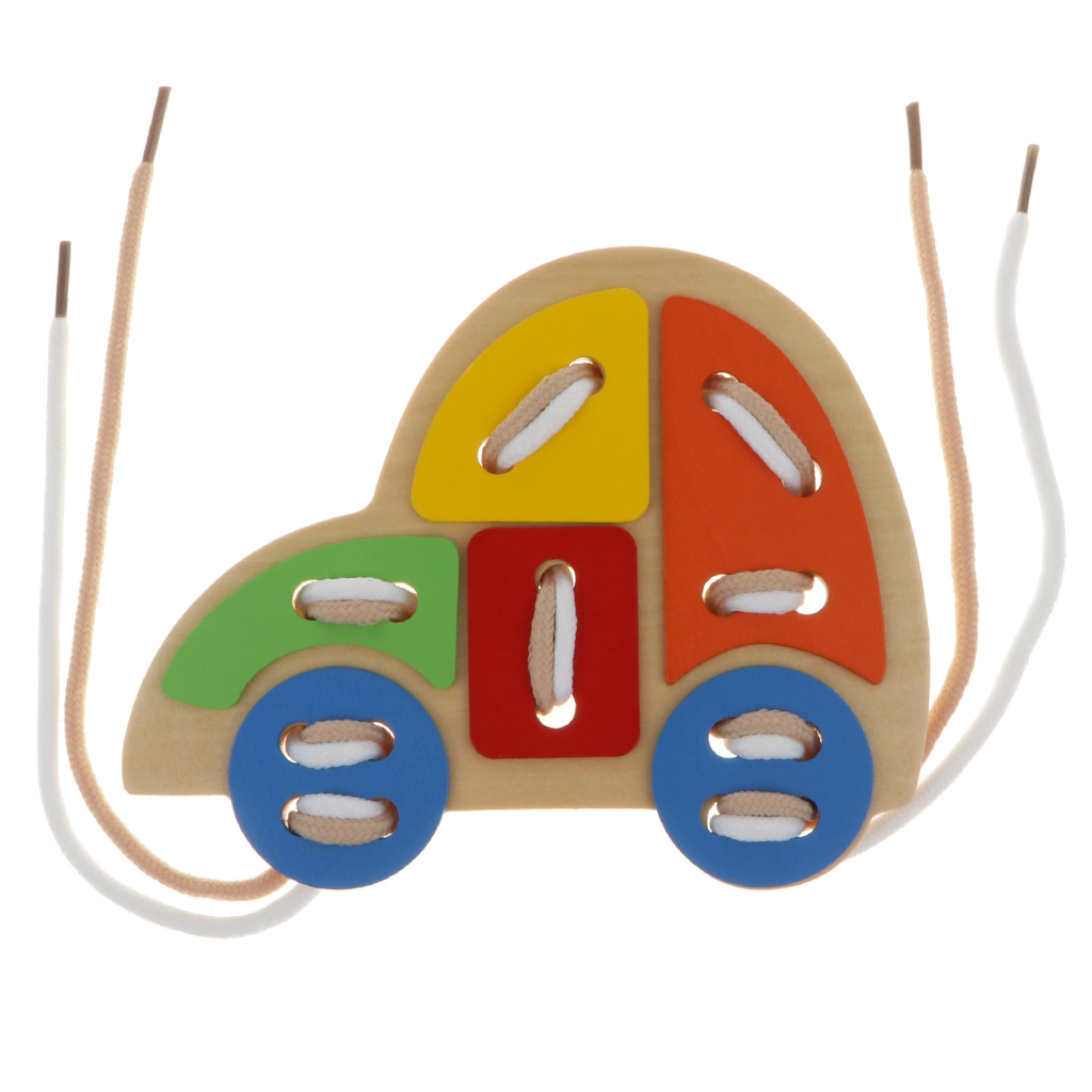 Kids Children Wooden Threading Lacing Activity Game Educational Toys